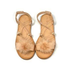 Zara Girls Blush Feather Sandal Size 2.5/34